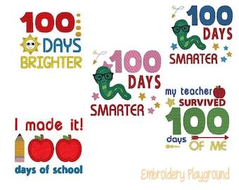 100 Days of School - Embroidery Designs - Machine Embroidery Embroidery Designs -  Teacher - Child's Shirt Design