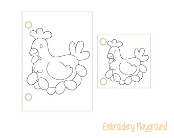 Chicken Coloring Page Embroidery Design - ITH Embroidery Design - Reusable Coloring Page