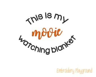 Movie Watching Blanket Embroidery Design - Christmas Blanket
