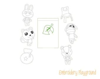 Critter Crossing Coloring Feltie Set Embroidery Design - ITH Embroidery Design - Reusable Coloring Dolls