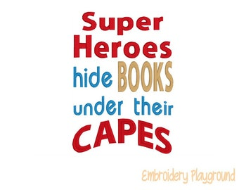 Super Heroes Hide Books Under Their Capes - Super Hero -  Embroidery Design - Machine Embroidery - Reading cushion Design - Reading Pillow
