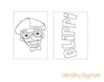 Blip Man Mini Coloring Page Embroidery Design - ITH Embroidery Design - Reusable Coloring Page