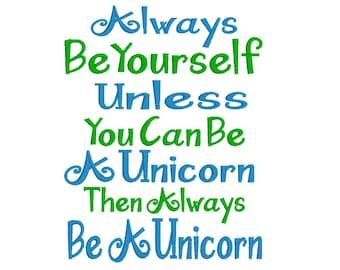 Embroidery Design - Unicorn - Reading Pillow Design - Embroidery Design - Unicorns - Be Yourself - Instant Download - Tween