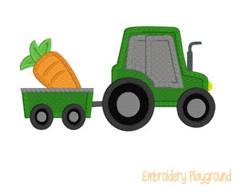 Tractor Applique Design with Carrot Wagon - Farm Embroidery - Childs Shirt Design - Embroidery Design - Easter Design
