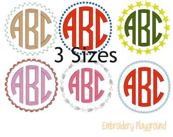Monogram Frames - Embroidery Designs - Machine Embroidery - Variety Frames - Monogram - Initial Frame - Round Frames