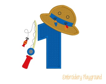 Officially One Applique - Fishing One Applique - First Birthday Applique Design - Embroidery Design