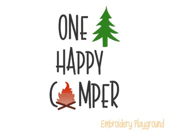 One Happy Camper Embroidery Design - Reading Pillow Design - Wording