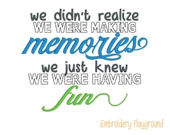 Fun Memories Wording - Memory Pillow Saying - Loved - Embroidery Design - Pillow Design