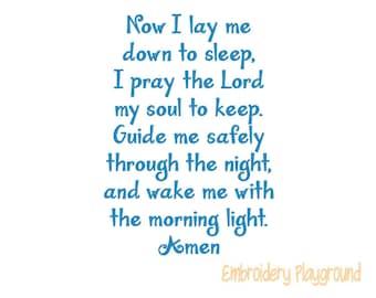 Bedtime Prayer - Embroidery Design - Child's Pillow Design
