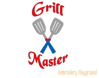 Grill Master - Towel Designs - Embroidery Designs - Machine Embroidery Designs -  Hand Towels - Kitchen Decor