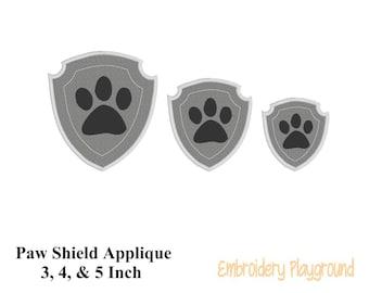 Paw Shield Applique - Embroidery Design - Pillow Design