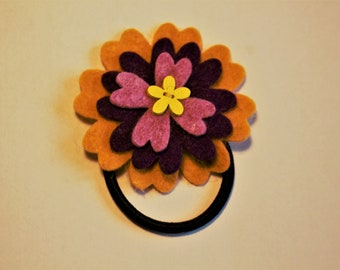 Flower hair tie, felted, wool, bobble, elastic loop for ponytail, girl hair accesory, hair jewelry