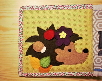 Handmade quiet book Page with hedgehog