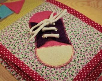 Handmade quiet book Page with shoes