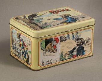VINTAGE TIN BOX / candy box / cookie box / Fables de la Fontaine / fox / crow / lion / rooster
