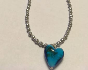 Turquoise heart pendant on silver bead chain