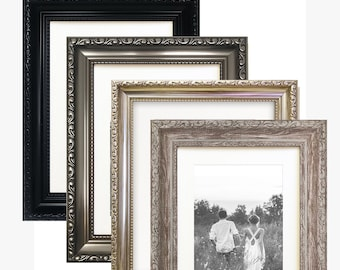 07d19861e8f7 A3   A4   A5   A6 - WHITE MOUNT - Shabby Chic Sussex Distressed Dark Silver    Black   Brown Ornate Photo Frame Portrait   Landscape