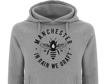 """Premium Unisex """"MCR BEE"""" Hooded Sweatshirt Jumper Hoodie Manchester Streetwear"""