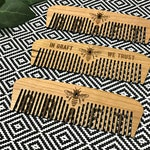 Manchester Bee Large Wooden Comb, MCR Bee Wood Hair Combs (Hipster / Fathers Day Gift)