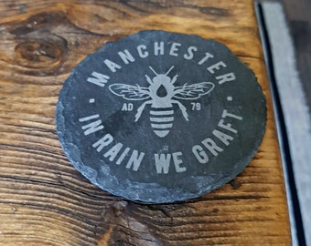 Manchester Bee Slate Coasters