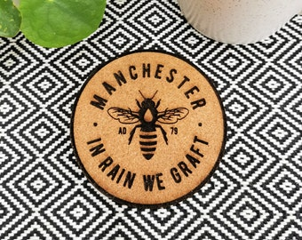 Manchester Bee Cork Coasters