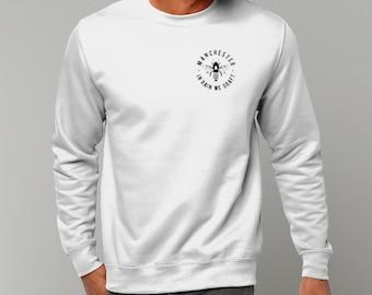 "Unisex ""MCR Bee"" Pocket Logo Sweatshirt Jumper Manchester Streetwear"