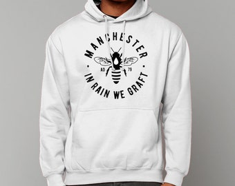 """Unisex """"MCR BEE"""" College Hoodie Sweatshirt Jumper Manchester Hooded Streetwear"""