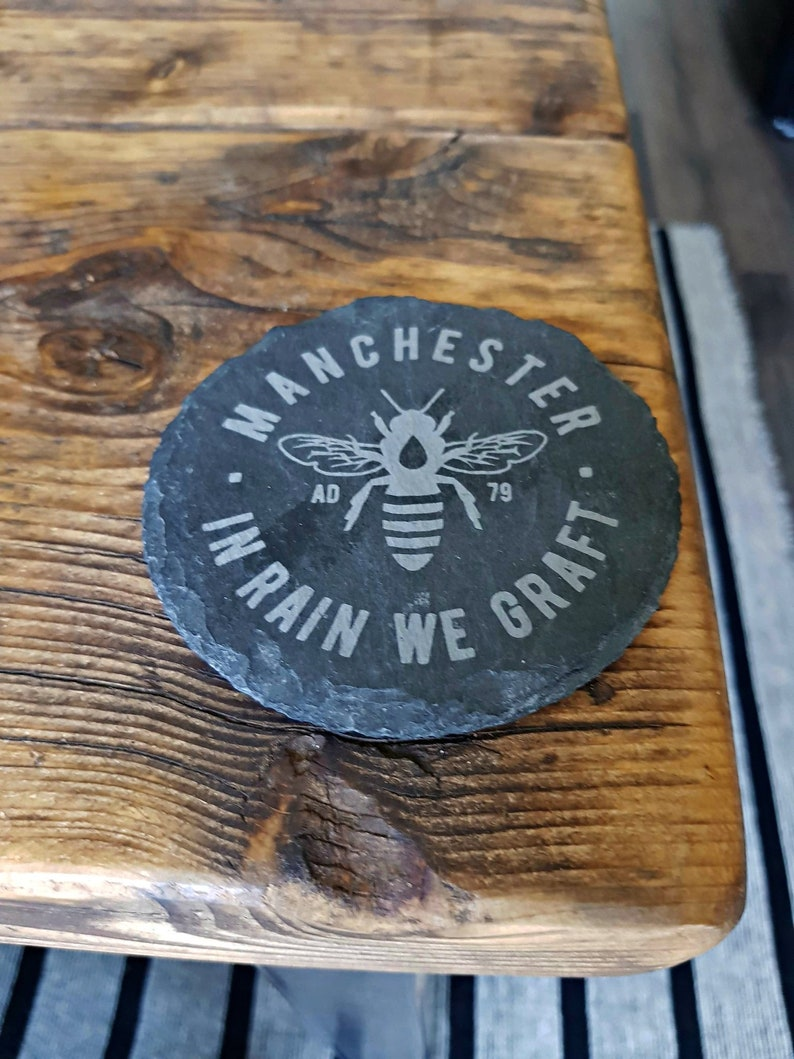 Manchester Bee Slate Coasters image 0