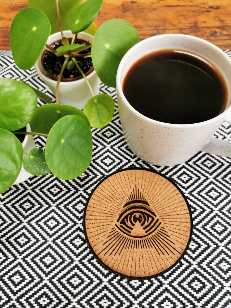All Seeing A Illuminati Eye Cork Coasters image 0