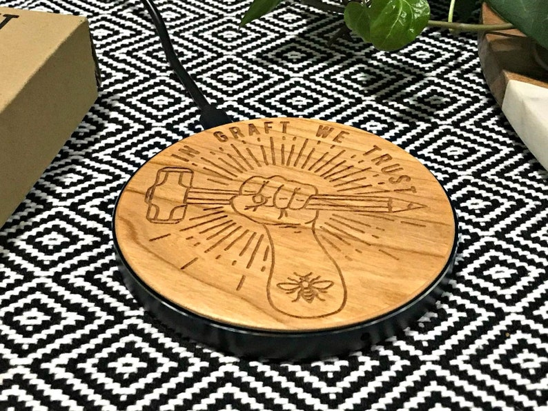GRAFT Manchester Logo Wooden QI Wireless Mobile Fast Charger image 0