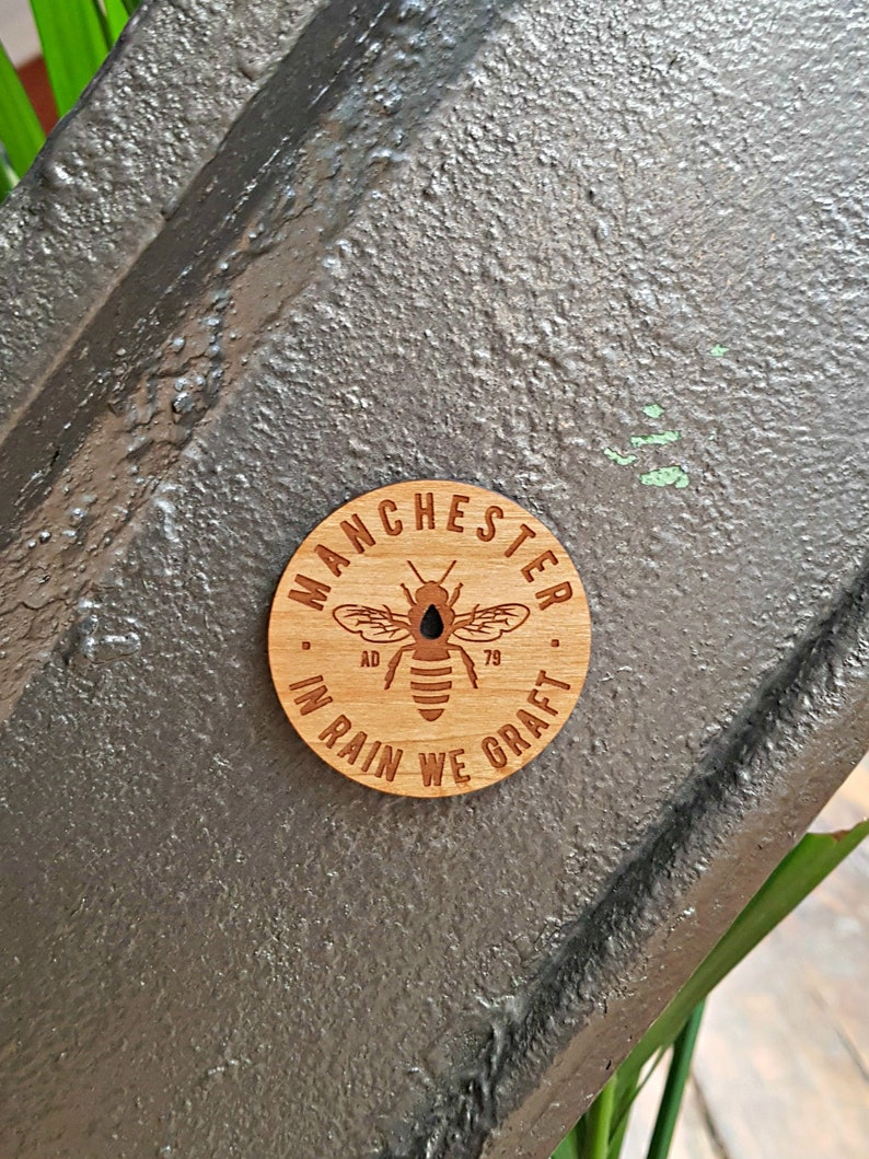 Limited Edition 'Manchester Bee' Wooden Fridge Magnet image 0