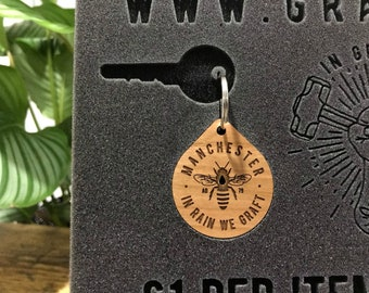 Limited Edition Manchester Bee Wooden Keyring, MCR Wood Keychain