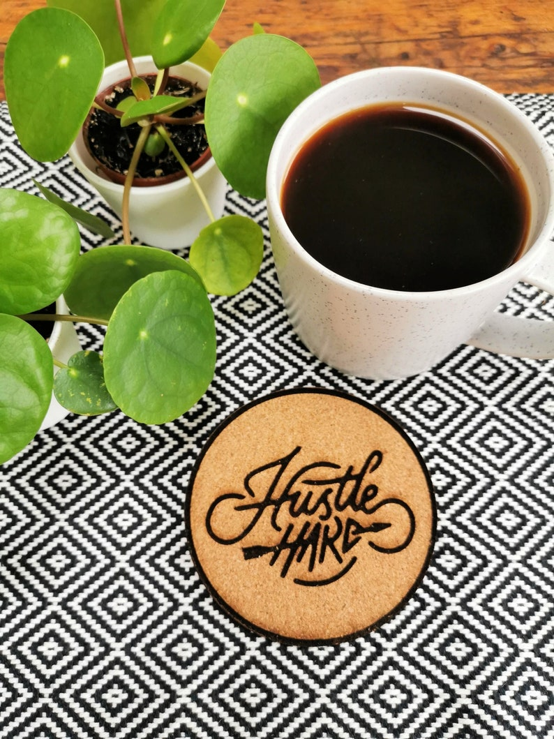 Hustle Hard Motivational Cork Coasters image 0