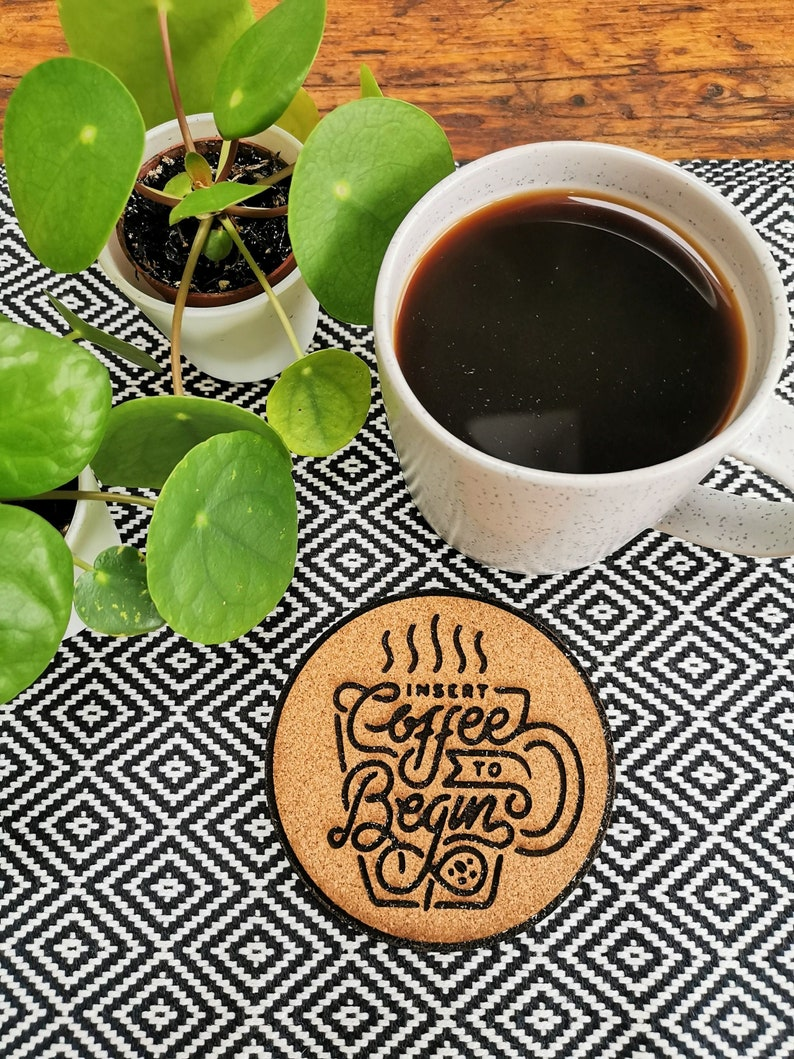 Insert Coffee Motivational Cork Coasters image 0