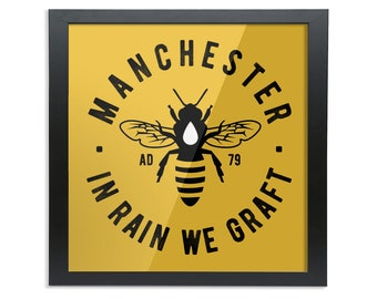 Manchester Bee - Square Wood Framed Wall Art Print