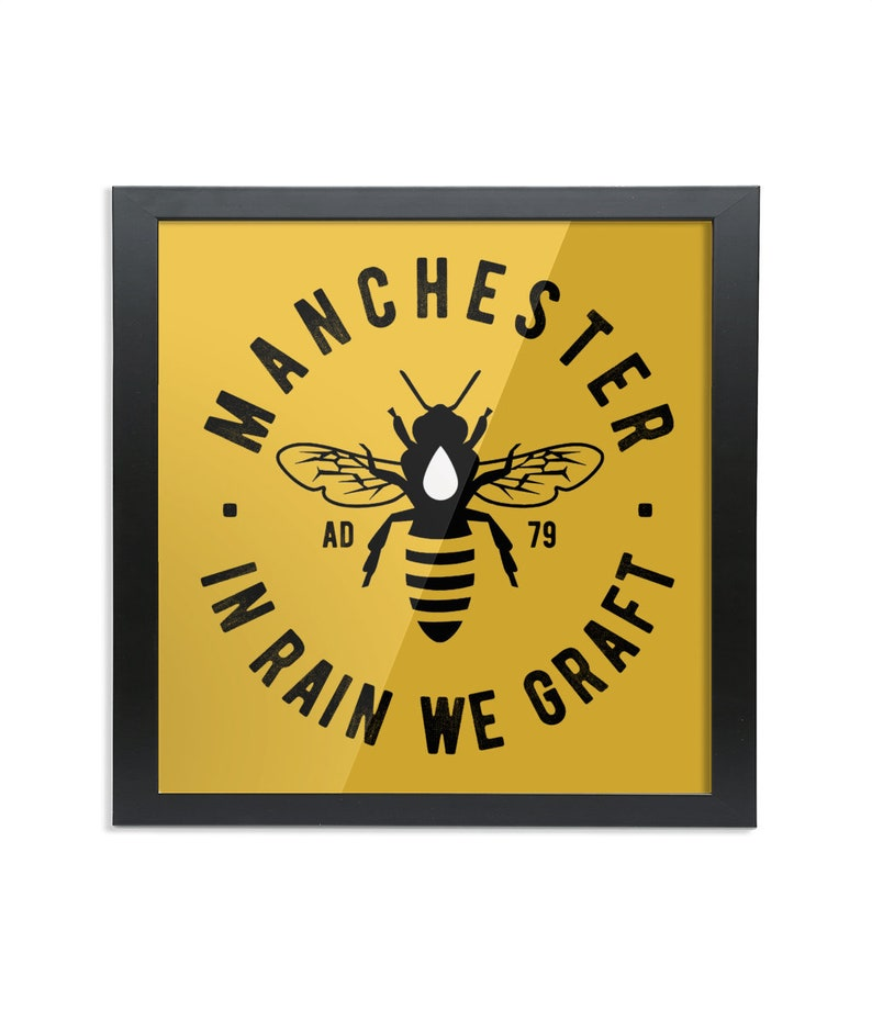 Manchester Bee  Square Wood Framed Wall Art Print image 0