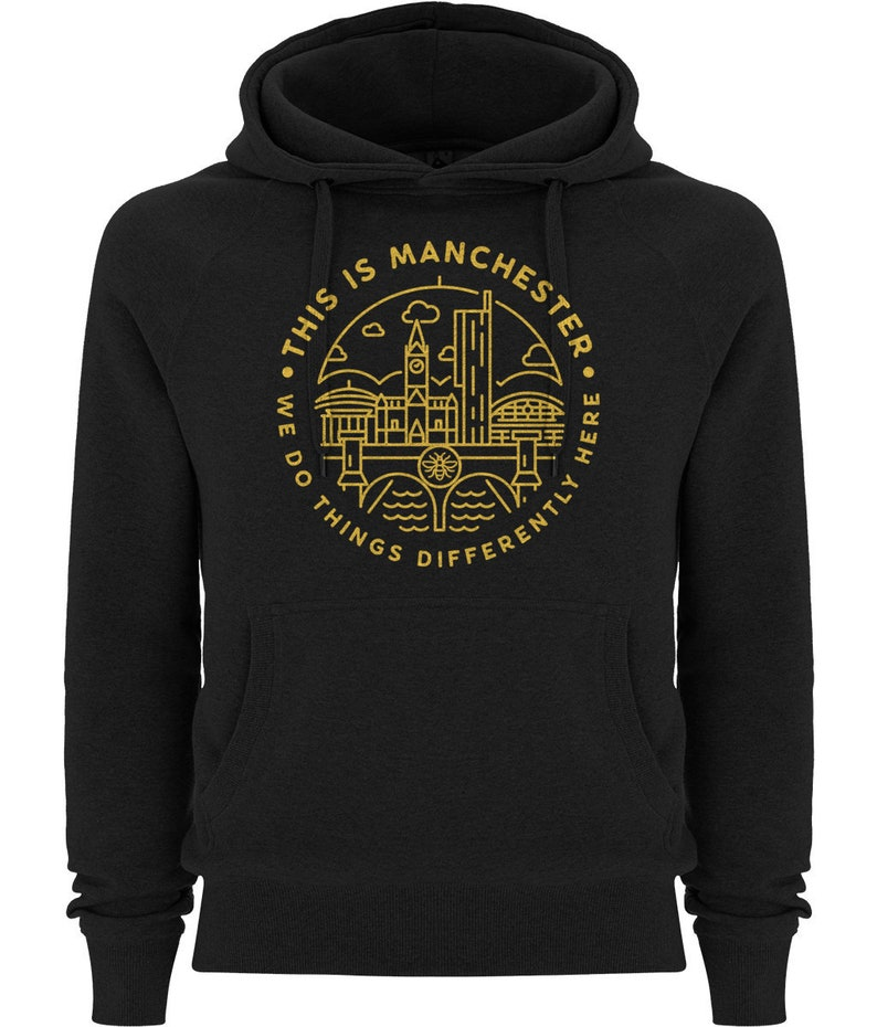 Premium Unisex This Is Manchester Hooded Yellow On Black
