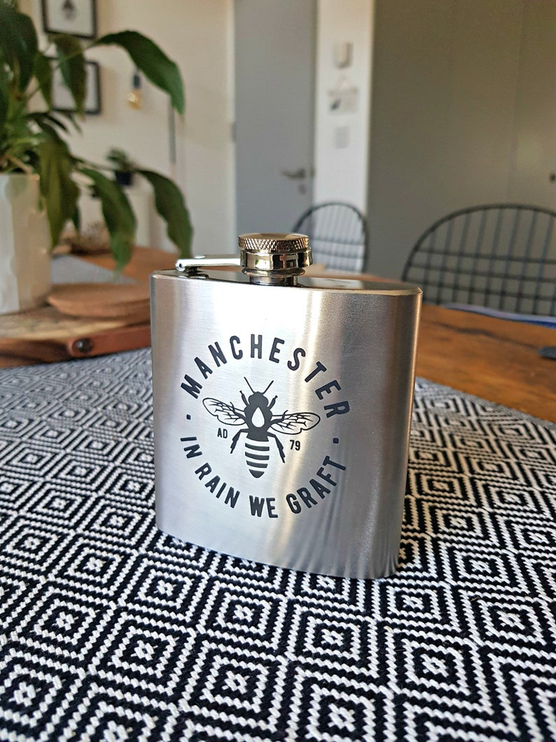 6oz Stainless Steel Silver Manchester Bee Hip Flask image 0