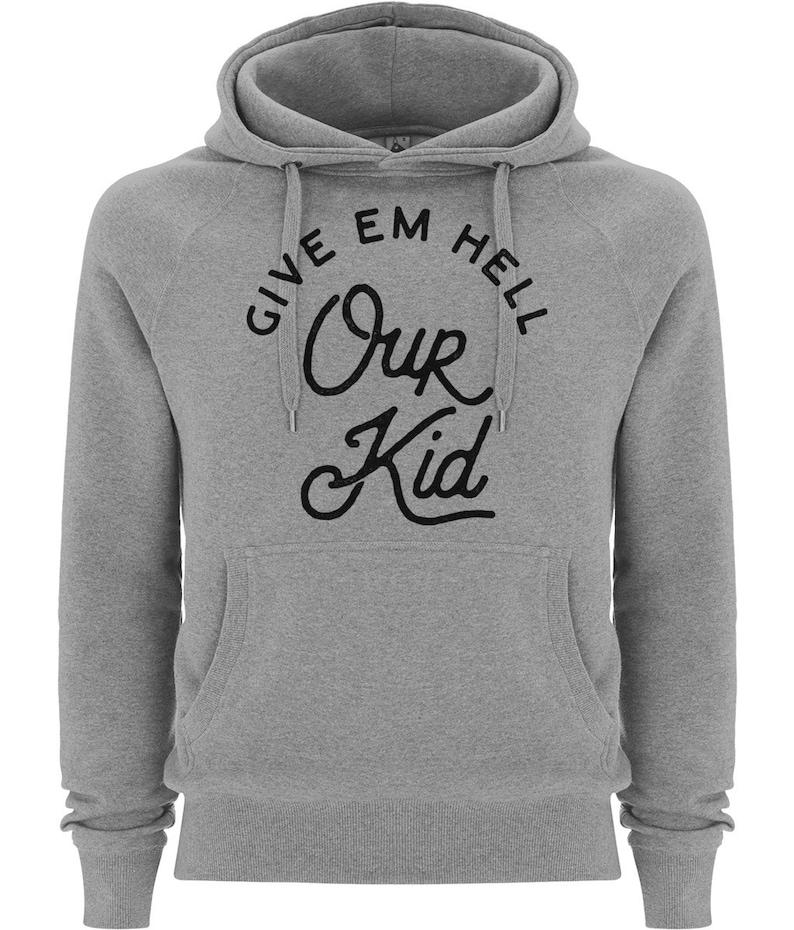 Premium Unisex Our Kid Hooded Sweatshirt Jumper Black On Grey