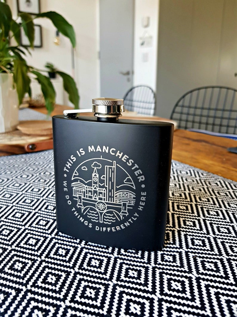 6oz Stainless Steel Black 'This Is Manchester' Hip image 0