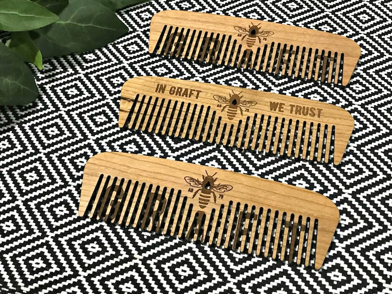 Manchester Bee Large Wooden Comb MCR Bee Wood Hair Combs image 0