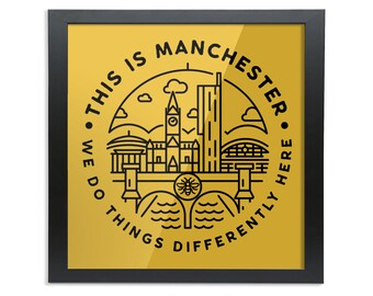 This Is Manchester - Square Wood Framed Wall Art Print
