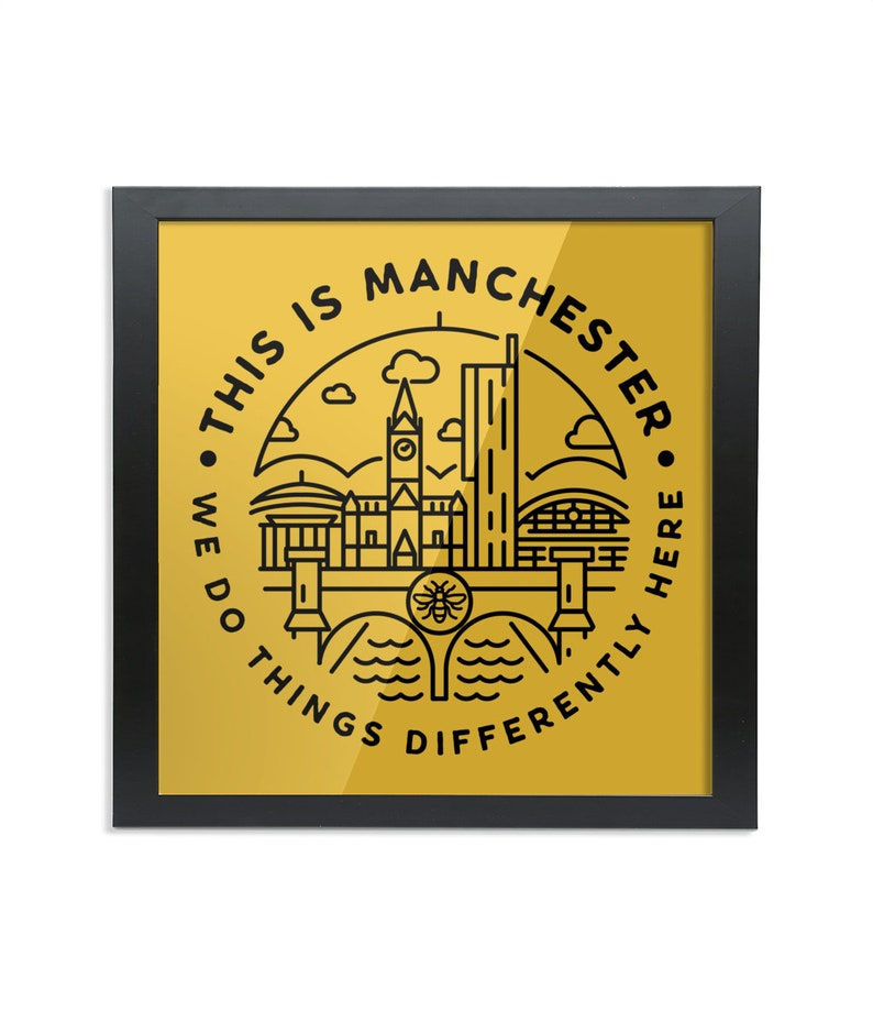 This Is Manchester  Square Wood Framed Wall Art Print image 0