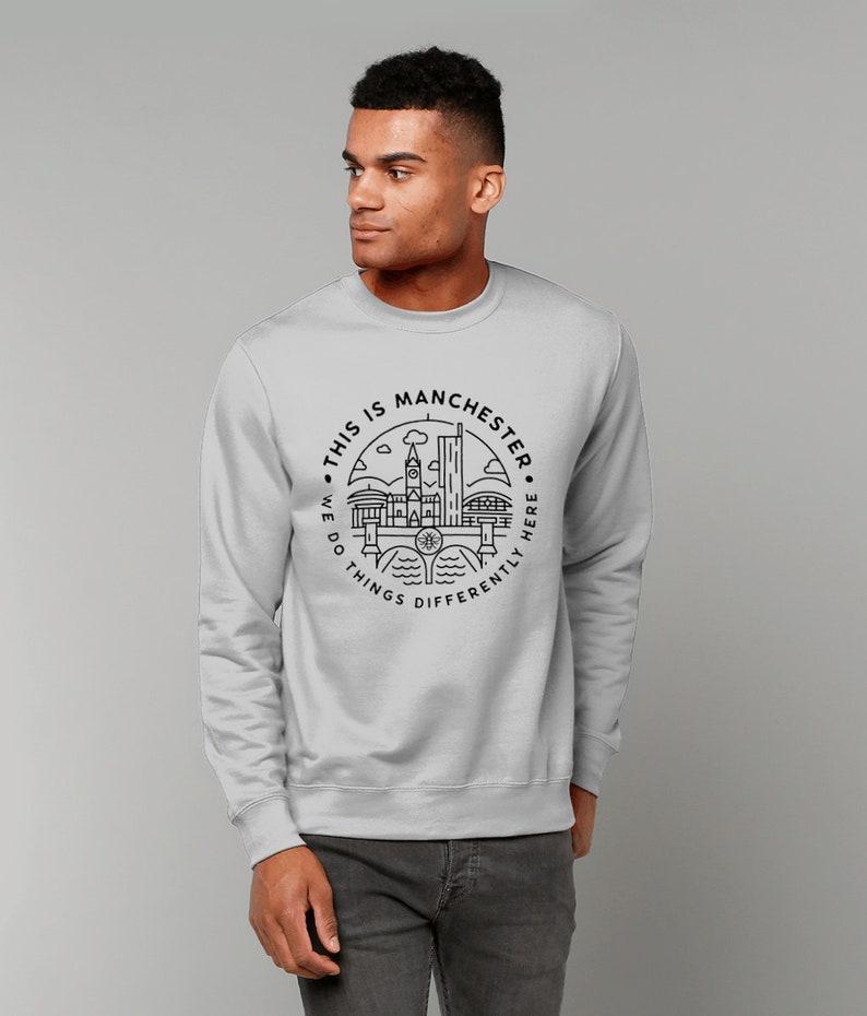 Unisex This Is MCR Sweatshirt Jumper Manchester Black On Grey
