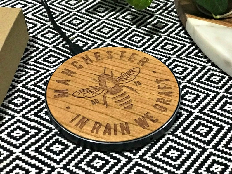 Manchester Bee Wooden QI Wireless Mobile Fast Charger MCR image 0