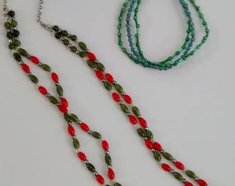Boho. Red and green set. Teen. Necklace earrings bracelet.
