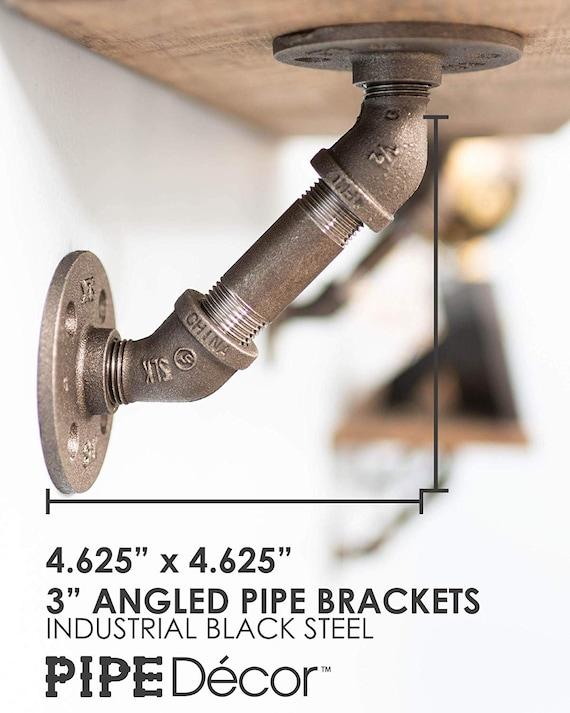 Rustic Industrial Pipe Shelf Bracket Heavy Iron Shelf Support Flange 3 Size