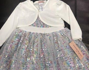 Nanette Lepore Kids Girls Dress Size 3T Sleeveless Velvet Pouf 3 Layer Lace Mesh