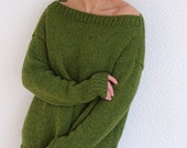 Olive green alpaca wool knit long slouchy thumb hole sweater, alpaca wool sweater jumper pullover, casual knitwear fashion, made to order