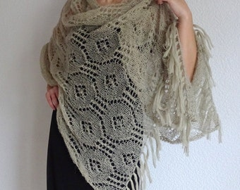 43c8c7b994bada Beige stricken lange romantische elegante Schal vertuschen, von Hand  gestrickt lange Boho Zubehör, stricken Fransen Schal, vertuschen, wickeln,  ...